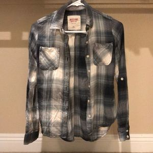 Green Grey Plaid Button Up